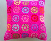 the neon pink granny square cushion cover