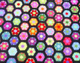 african flower crochet  hexagon granny blanket