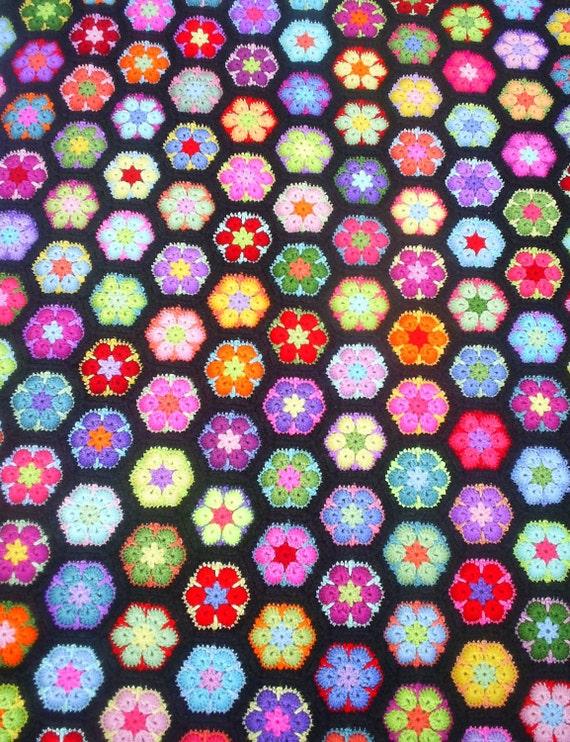african flower crochet  hexagon granny blanket