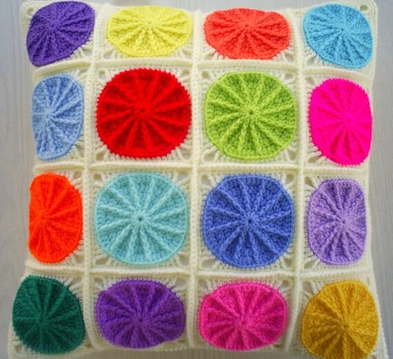 the colorful polkadot granny square cushion cover