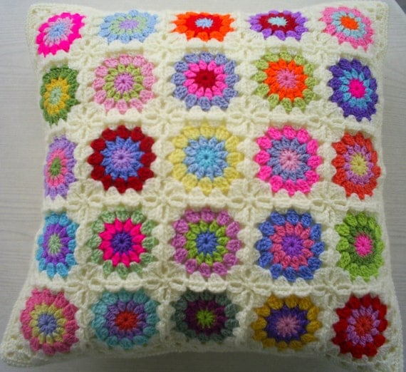 colorful granny sqaure cushion cover