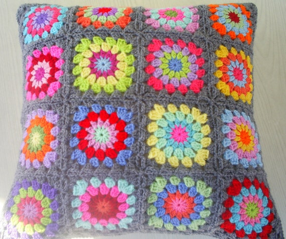 colors in grey granny square cushion cover / pillow cover