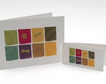 Dog bone & paw print greeting card 4x2 (pictured on right)