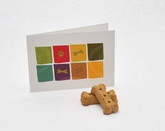 Dog bone & paw print greeting card