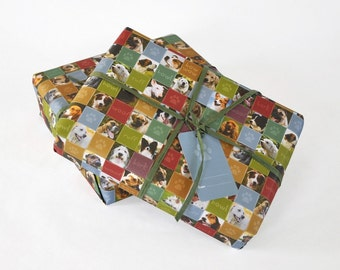 Multi photo images of assorted dogs wrapping paper. 1 sheet