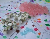 90 Vintage Beads Spacers Tied Knot Rose Beads Pink Blue Flowers Cubed Square