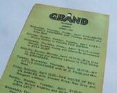 RESERVED 1940 Grand Theatre Program