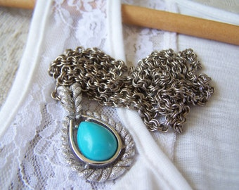 Avon Vintage Layered Chain Avon Necklace with Turquoise Pendant FREE SHIPPING