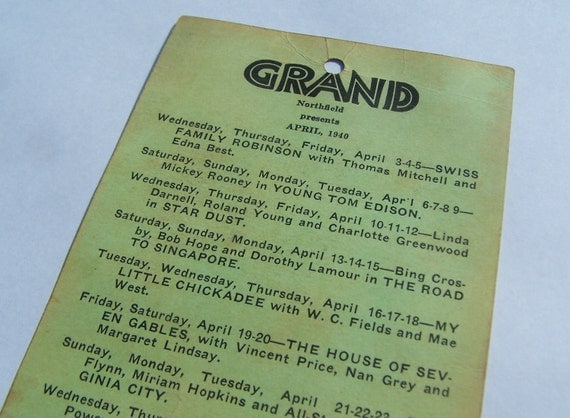 RESERVED 1940 Grand Theatre Program