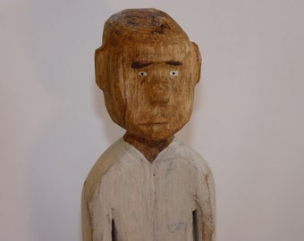 John Lynch, SlingBlade Karl Primitive Folk Art Style Wood Carving Simple Man , a Dude with White Shirt, Blue pants Wormy Maple b1