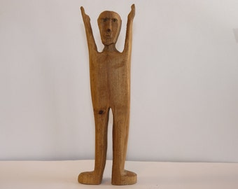 John Lynch, Primitive Folk Art Wood Carving Simple Man, Victory ,Rustic , Wormy Maple, Wood Art Sculpture, b2
