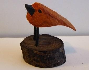 John Lynch,  Primitive Wood Carving  Folk Art Tiny Baby Bird muted colors Distressed tweet tweet b3