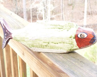 John Lynch, Funky Mint Green Red Head Fish Primitive Style Wood Carving  Folk Art  ,Rough Cut, Rustic from Salvaged Pine b1
