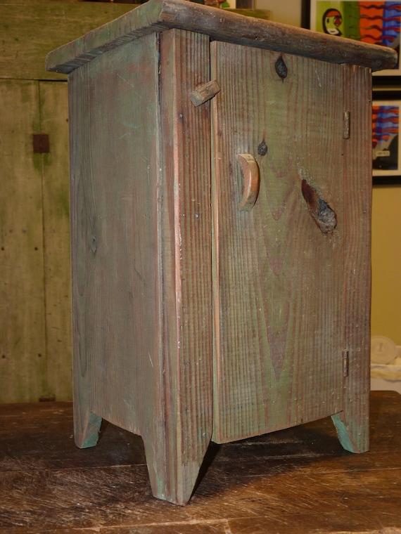 Mini Folk Art Cupboard Spice Chest Primitive Olive Rustic Color, Perfect for the Cabin or kitchen