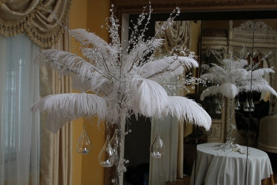 Crystal and feather centerpiece by magicbeyondmidnight on etsy