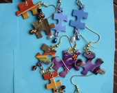 Puzzle dangle earrings using recycled puzzle pieces