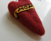 Mom Heart tattoo Style holiday ornament. needle felted.