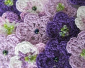 15% Off Summer Sale - 12 Crocheted Flowers With Lime Green Glass Beads - Shades of Purple - Scrapbooking - Embellishments