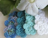 15% Off Summer Sale - 12 Crocheted Flowers - Colors of the Ocean - Scrapbooking - Embellishments