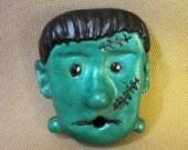 Polymer Clay Frankenstein Pin OOAK