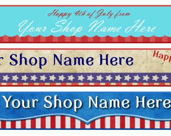 Etsy Facebook Website Blog Cover Photo  Ready Made Patriotic Flag American Red White Blue Black  - You Pick One