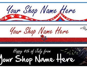 Etsy Facebook Website Blog Cover Photo  Ready Made Patriotic Flag American Red White Blue Black  4th of July