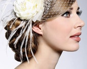 Cream Wedding Flower with French Veiling