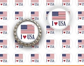 """INSTANT DOWNLOAD - 1"""" Circles 4x6 USA 02 I love Red White and Blue Bottle cap Hair bow center Glass Resin Sticker Hangtags Print Your Own"""
