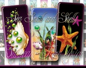 "INSTANT DOWNLOAD - Dominos 1x2"" Shells 04 Mermaid's Pearls Sea Gift tags Glass Atc Art Jewelry Pendants Magnets Glass Resins Print Your Own"