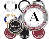 "INSTANT DOWNLOAD - 1"" Circles 4x6 Editable JPG 41 Ornaments Bottle cap Labels Embellishment Envelope Decoration Hangtags Print Your Own"