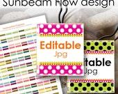 "INSTANT DOWNLOAD - Editable 52 JPG Scrabbles Tiles Squares .75""x.83"" pink blue polka dots Glass Resins Stickers Cards Hangtags cu pyo diy"