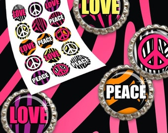 """INSTANT DOWNLOAD - 1"""" Circles Animal Skin 01 Zebra Love Peace sign Bottle Cap Hair Bow Centers Jewelry Stickers Magnet Print Your Own DIY"""