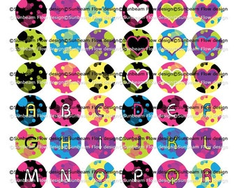 "INSTANT DOWNLOAD - 0.5"" (1/2"") x 60 mini Circles Bubbles 04 Printable Digital Collage for Bottle Caps Children's fonts Print Your Own DIY"