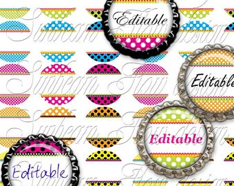 """INSTANT DOWNLOAD - 1"""" Circles 4x6 Editable 02 JPG pink blue polka dots Bottle cap Hair bow Glass Resin Stickers Hangtags Print Your Own"""