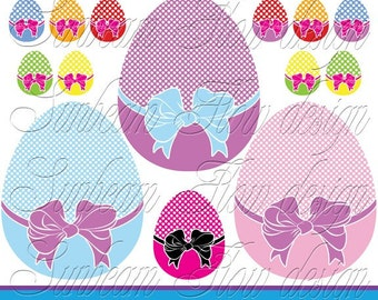 INSTANT DOWNLOAD - Cute Easter Eggs Digital Clip arts Png Elements illustrations girls boys tags stickers favor Invitations Print Your Own