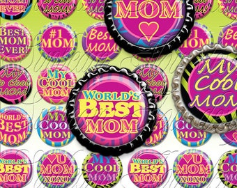 "INSTANT DOWNLOAD - 1"" Circles MOM 01 Hot Pink Love Animal Skin Zebra Printable Bottle cap Jewelry Magnet Glass Resin Tags atc Print Your Own"