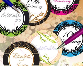 "INSTANT DOWNLOAD - 3"" Circles 8.5x11 Editable Jpg 12 Bottle Jars Labels Glass Card Embellishment Envelope Decoration Hangtags pyo DIY"