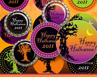 """INSTANT DOWNLOAD - 1"""" Circles 4x6 Halloween trees branches 01 Bottle cap graphic Hair bow center Glass Resin Sticker Card Hangtags pyo DIY"""
