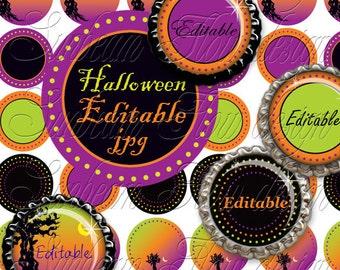 "INSTANT DOWNLOAD - 1"" Circles 4x6 Editable 24 JPG Halloween polka dots Bottle cap Hair bow Glass Resin Stickers Halloween pyo diy"