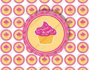 """INSTANT DOWNLOAD - 1"""" Circles Party 03 Printable Cupcake topper Pink & Yellow Sweet Cupcakes Happy Birthday Stickers Labels Print Your Own"""