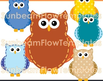INSTANT DOWNLOAD - Cute Owls 01 Digital Clip arts Png Elements illustrations girls boys tags stickers favor Invitations Print Your Own