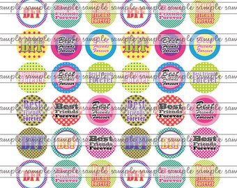 "INSTANT DOWNLOAD - 0.5"" Half inch 1/2 Circles BFF 03 Bottle cap Hair bow center Jewelry Pendant Magnet Glass Resin Sticker aceo pyo diy"