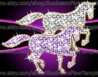 INSTANT DOWNLOAD - Princess horses 03 clip art PNG elements Digital Decoration lady girl Scrapbooking Scrap kit Invitations Print Your Own