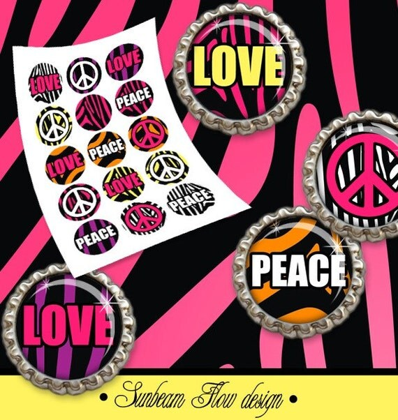 "INSTANT DOWNLOAD - 1"" Circles Animal Skin 01 Zebra Love Peace sign Bottle Cap Hair Bow Centers Jewelry Stickers Magnet Print Your Own DIY"
