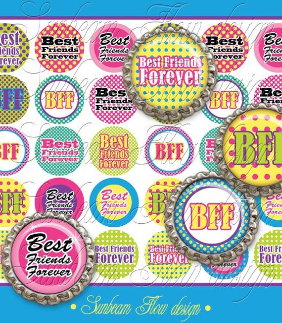 "INSTANT DOWNLOAD - 1"" Circles 4x6 BFF 02 Bottle cap Hair bow center Jewelry Pendant Magnet Glass Resin Sticker Download Valentine's Day diy"