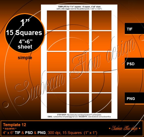 etsy shop policies template - instant download 1 squares template 12 4x6 printable