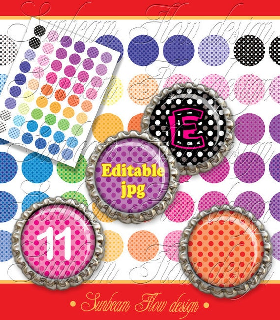 """INSTANT DOWNLOAD - 1"""" Circles Editable jpg Polka Dots 11 Bottle cap cute pink polka dot Hair bow Magnets Glass Resin Stickers Print Your Own"""