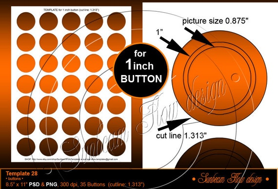 "INSTANT DOWNLOAD - 1.313 inch Circles for 1"" buttons TEMPLATE 28 Printable Badges Accessories Jewelry Stickers Cards Hangtags Print Your Own"