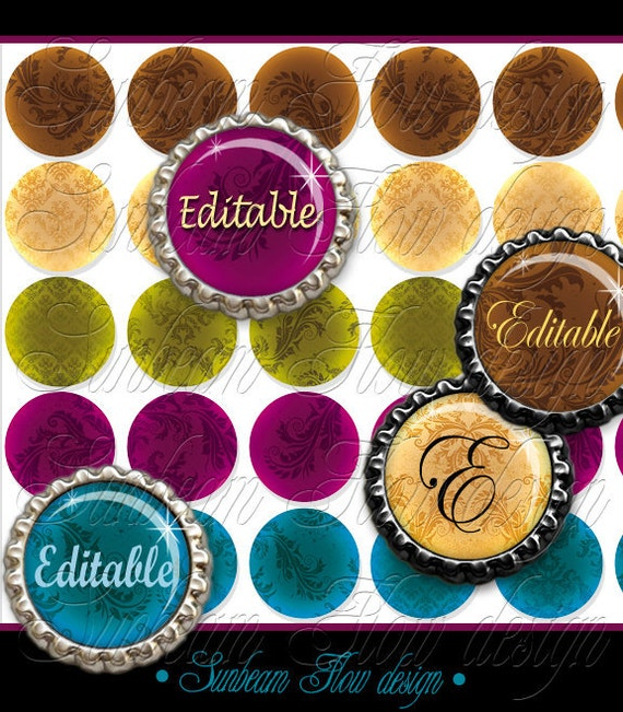 "INSTANT DOWNLOAD - 1"" Circles Editable JPG Damask 01 Printable Bottle caps Hair bow centers Jewelry Pendant Magnet Sticker Print Your Own"