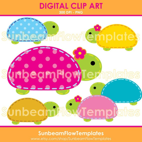INSTANT DOWNLOAD - Cute Turtles 01 Digital Clip arts Png Elements illustrations girls boys tags stickers favor Invitations decorations Pyo